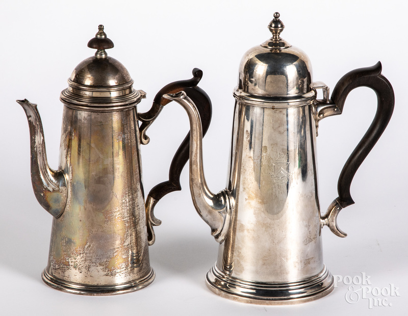 Two sterling silver lighthouse coffee pots