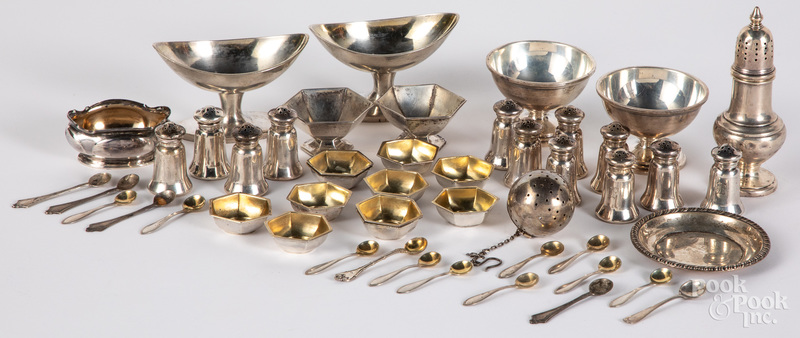 Group of sterling silver salts, shakers, etc.