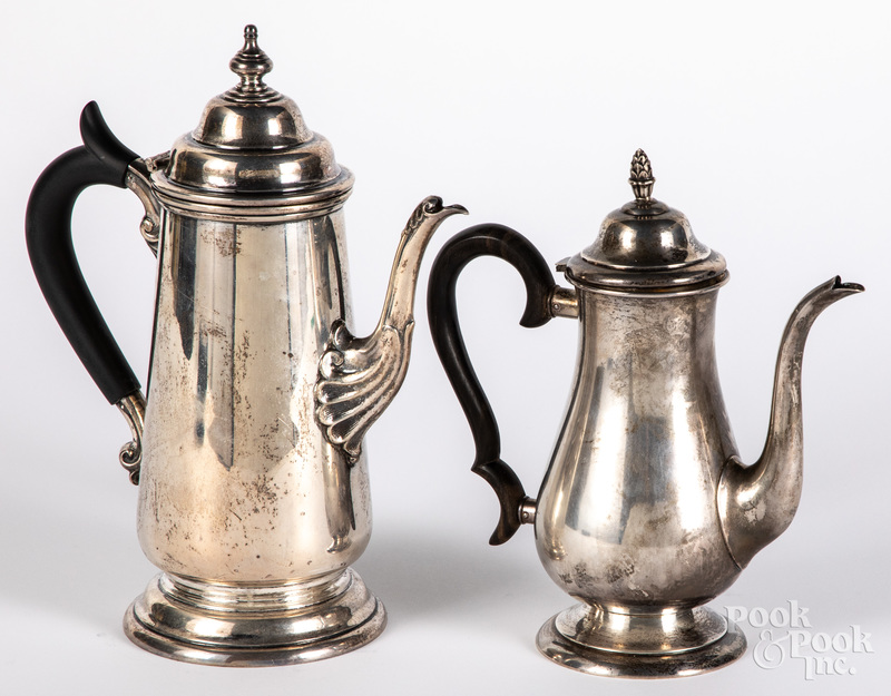 Two sterling silver coffee pots