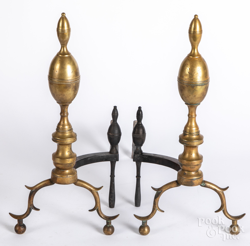Pair of Federal brass double lemon top andirons