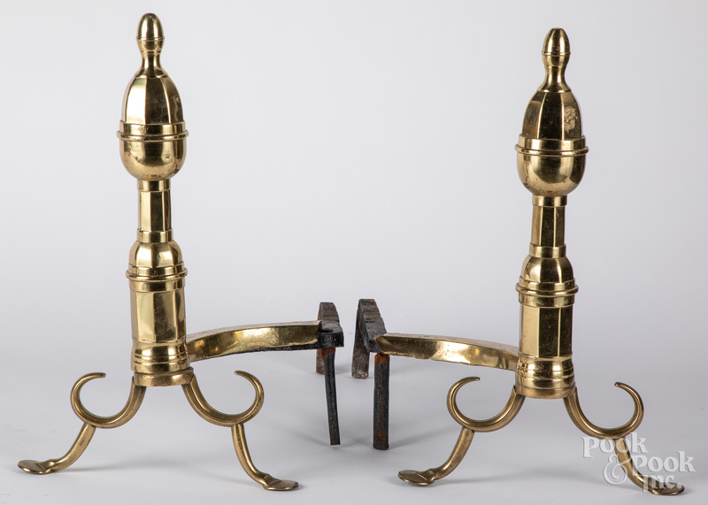 Pair of Federal brass andirons