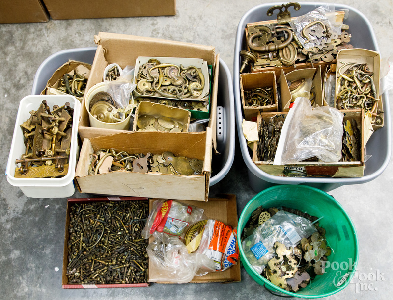 Large group of brass furniture hardware
