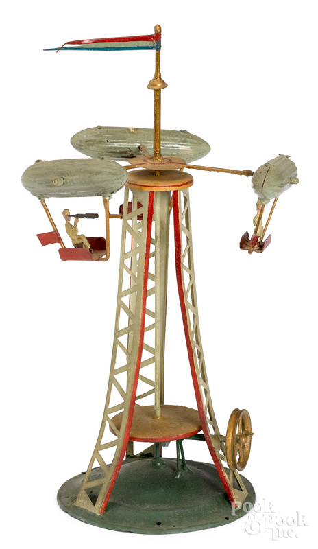 Painted tin dirigible carousel steam toy accessory