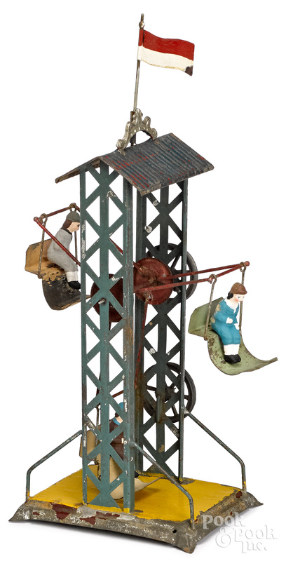 Painted tin Ferris wheel steam toy accessory