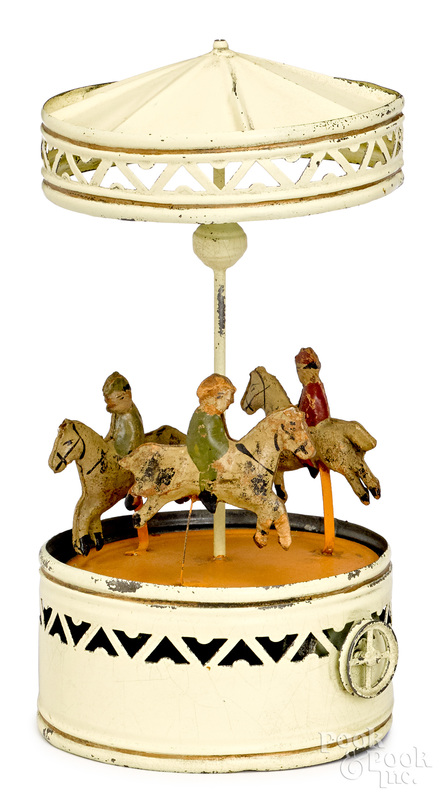 Bing painted tin carousel steam toy accessory