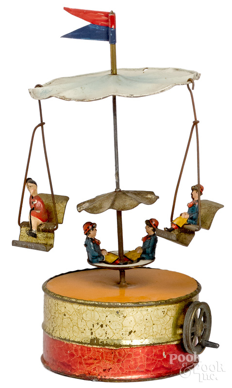 Becker painted tin carousel steam toy accessory