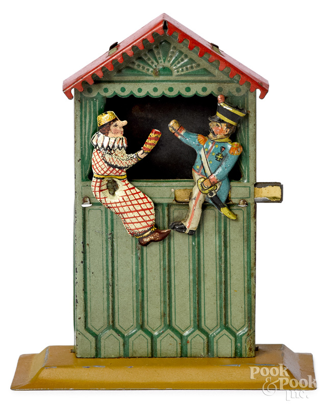 Scarce Meier animated Punch & Judy penny toy