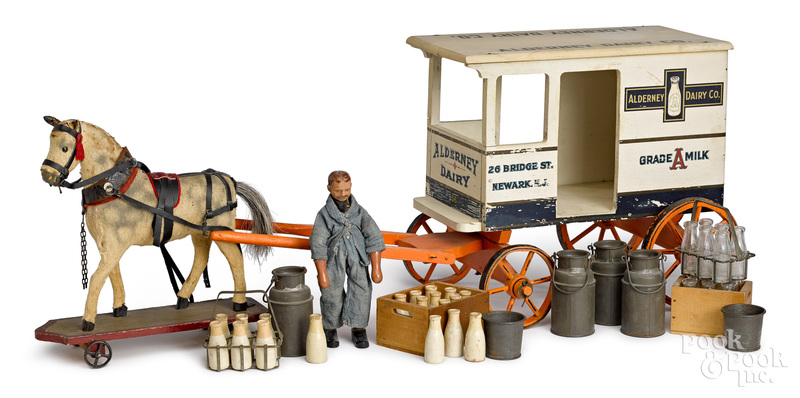 Schoenhut painted wood horse drawn delivery wagon