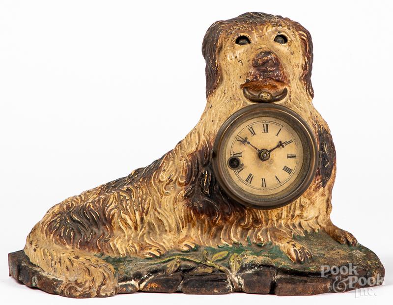 Bradley & Hubbard cast iron blinking eye dog clock