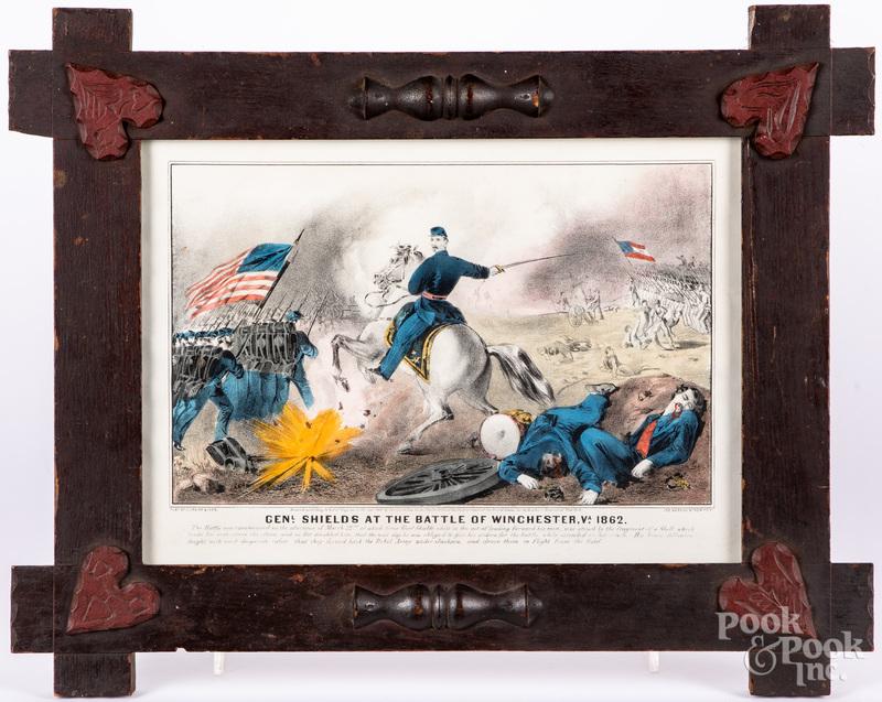Currier & Ives Genl Shields color lithograph
