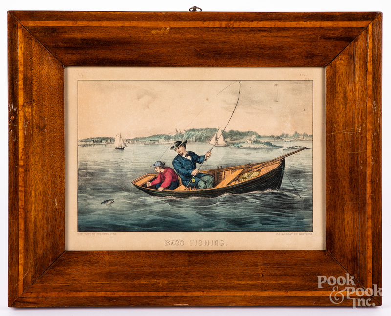Currier & Ives Bass Fishing color lithograph