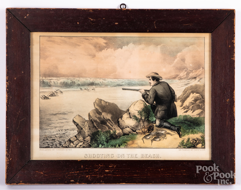 Currier & Ives Shooting on the Beach lithograph