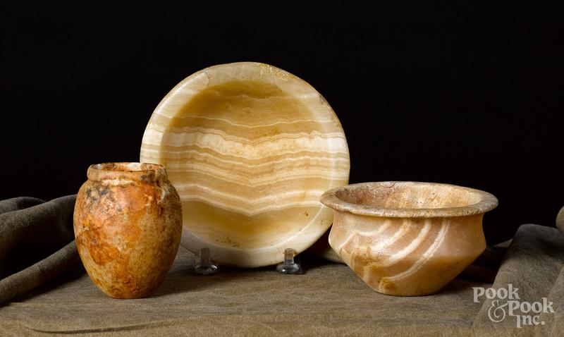 Three Egyptian pre-dynastic alabaster vessels