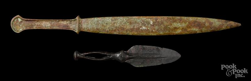 Two Luristan bronze daggers