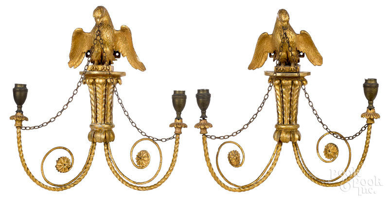 Pair of Federal giltwood sconces