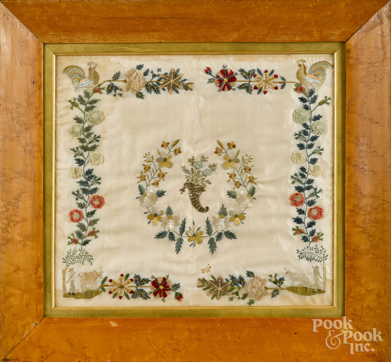 Silk and chenille on silk embroidery