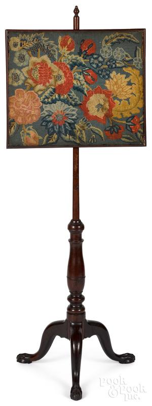 Chippendale mahogany pole screen