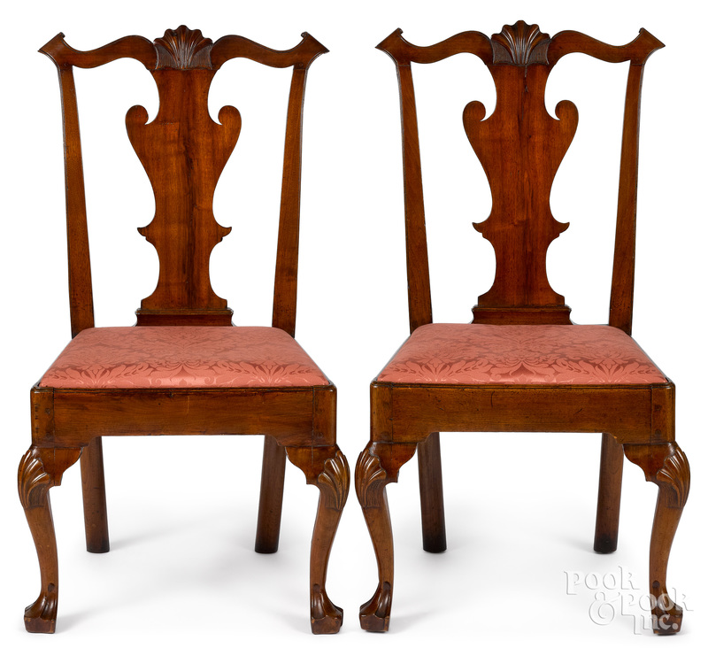 Pair of Pennsylvania Queen Anne dining chairs