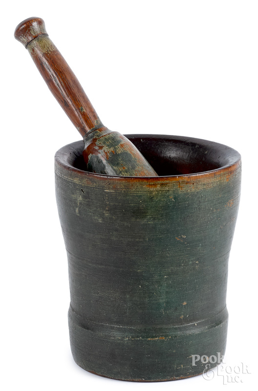Turned and painted mortar and pestle