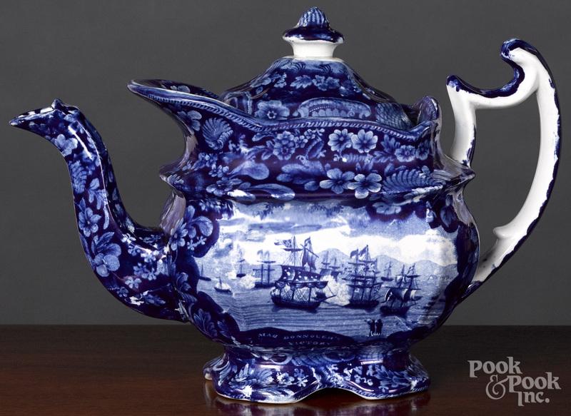 Historical Blue Staffordshire teapot