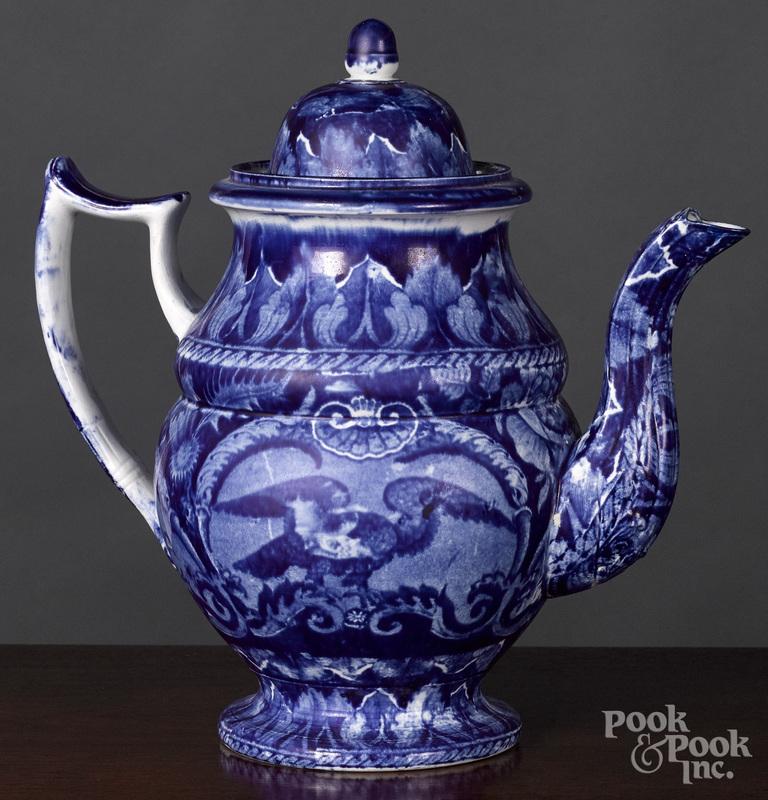 Historical Blue Staffordshire coffee pot