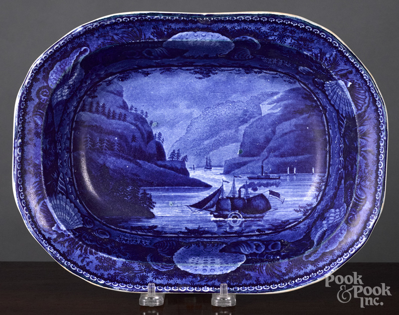 Historical Blue Staffordshire serving dish