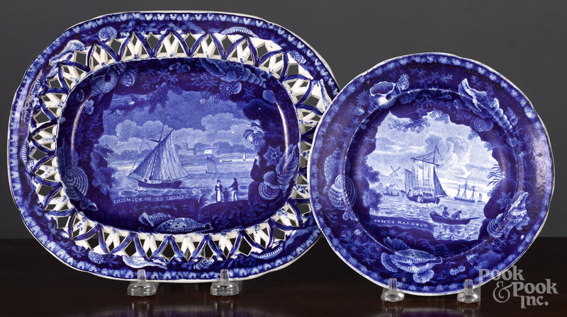 Historical Blue Staffordshire undertray and plate