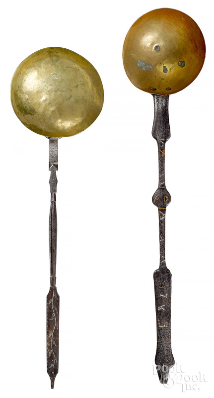 Two wrought iron and brass ladles