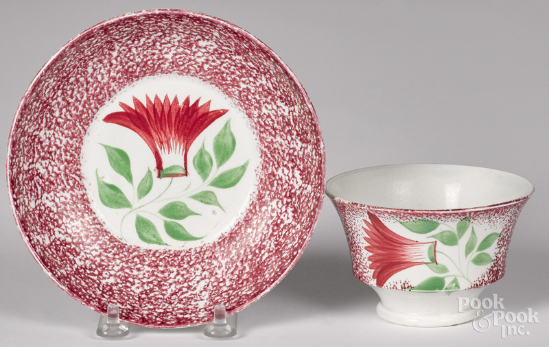 Purple red spatter thistle cup and saucer