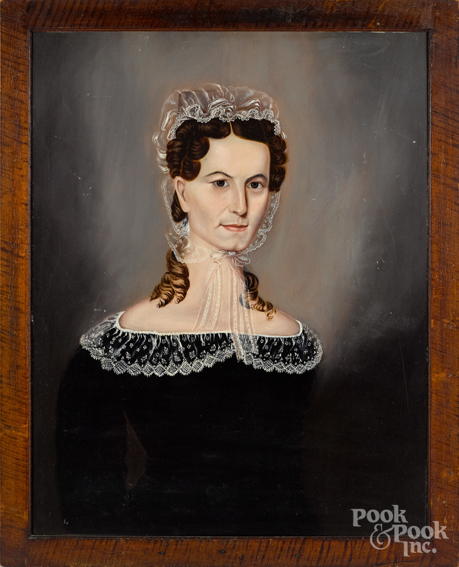 Oil on wood panel portrait of a woman