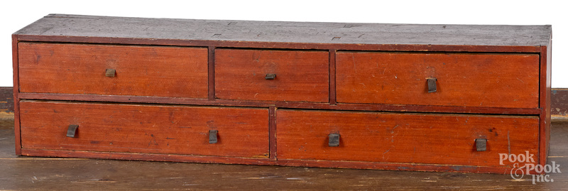Small painted pine table top cabinet