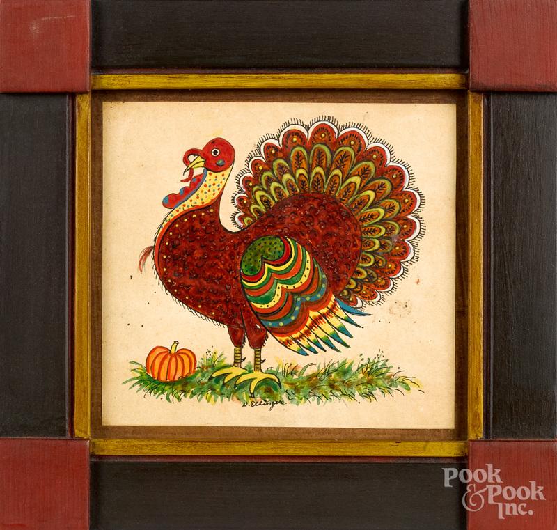 David Y. Ellinger, watercolor of a turkey