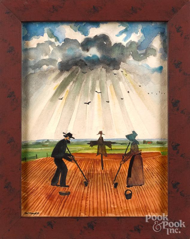 David Y. Ellinger, watercolor of an Amish couple