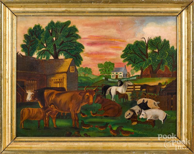 American primitive oil on canvas farmscene
