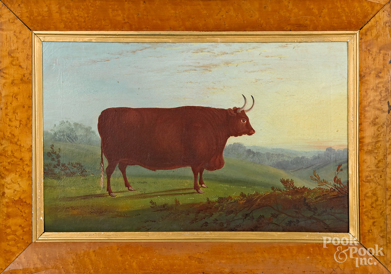Oil on canvas of a prize bull