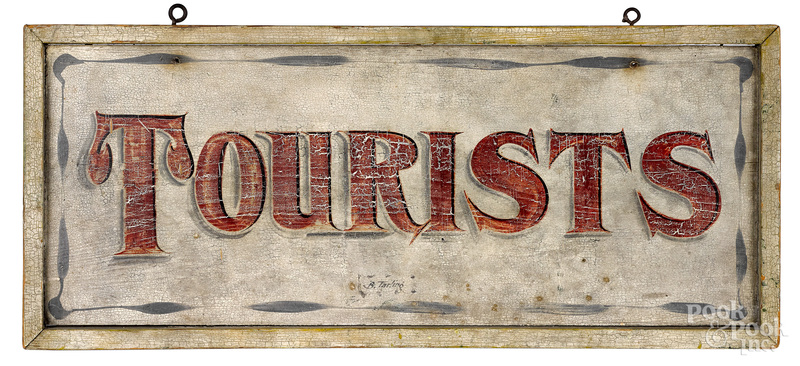 Painted pine Tourist trade sign