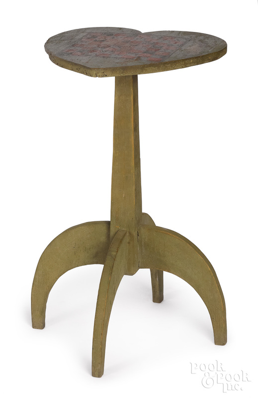 Primitive painted pine candlestand