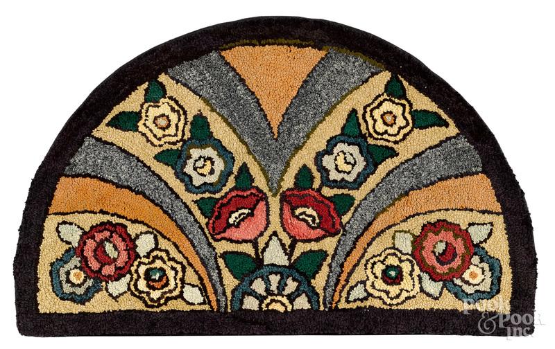 Demilune floral hooked rug