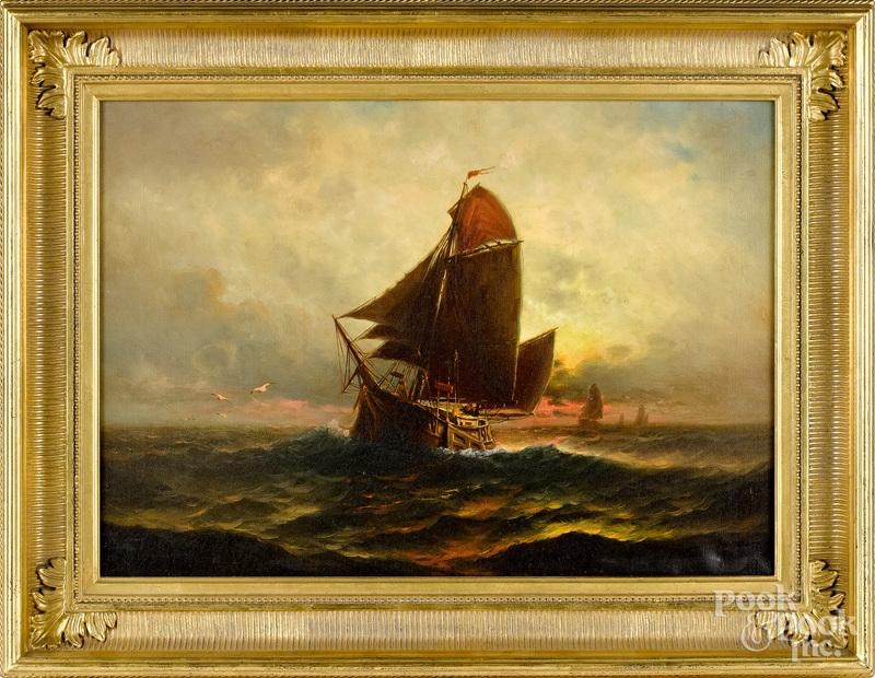 Theodore Valenkamph, oil on canvas sunset seascape