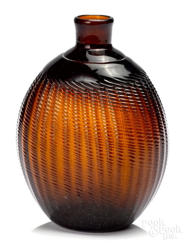 Midwestern pattern amber glass Pitkin flask