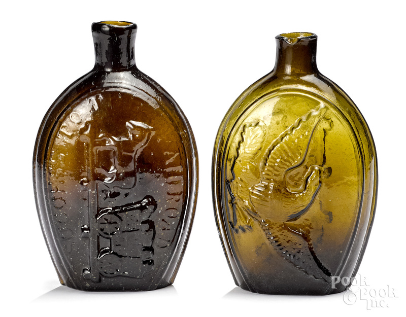 Two Historical glass flasks, ca. 1830