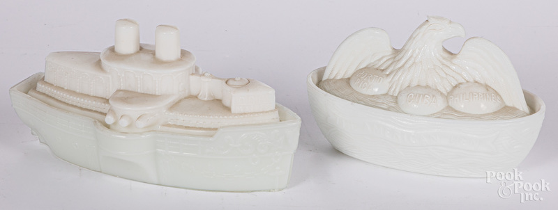 Two milk glass covered dishes