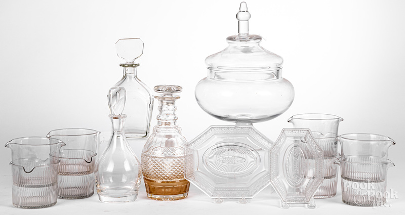 Collection of colorless glass.