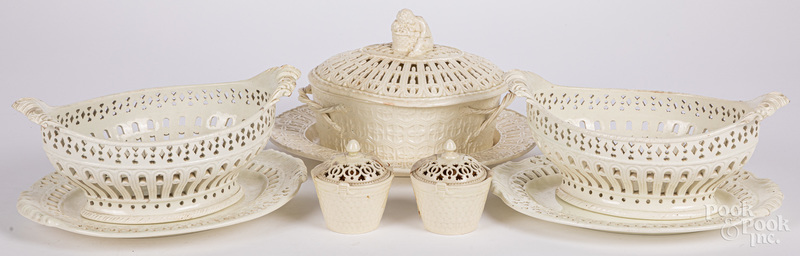 Pair of creamware reticulated baskets