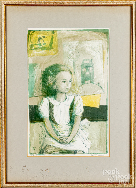 Benton Spruance signed lithograph of a young girl