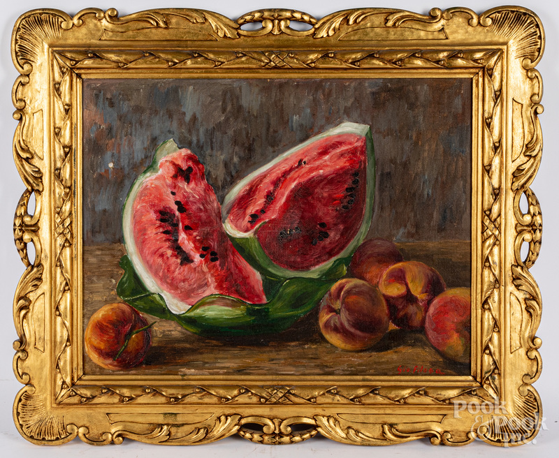 Italian oil on canvas still life with fruit