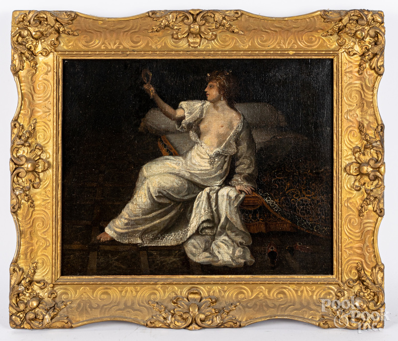 Oil on canvas interior of a woman with a mirror