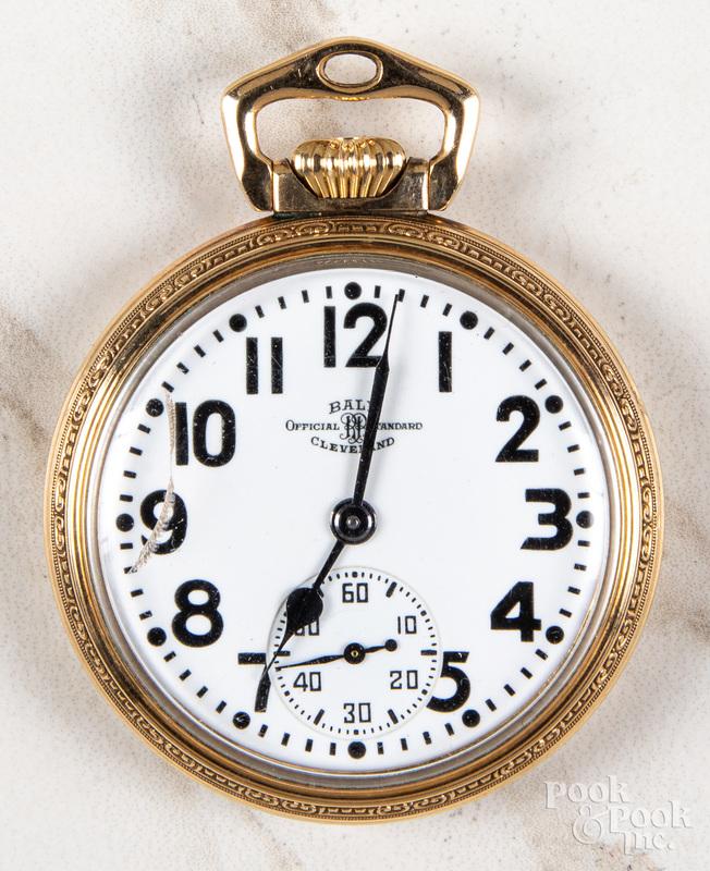 Gold filled Ball open-face pocket watch