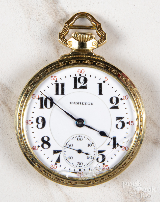 Gold filled Hamilton open-face pocket watch