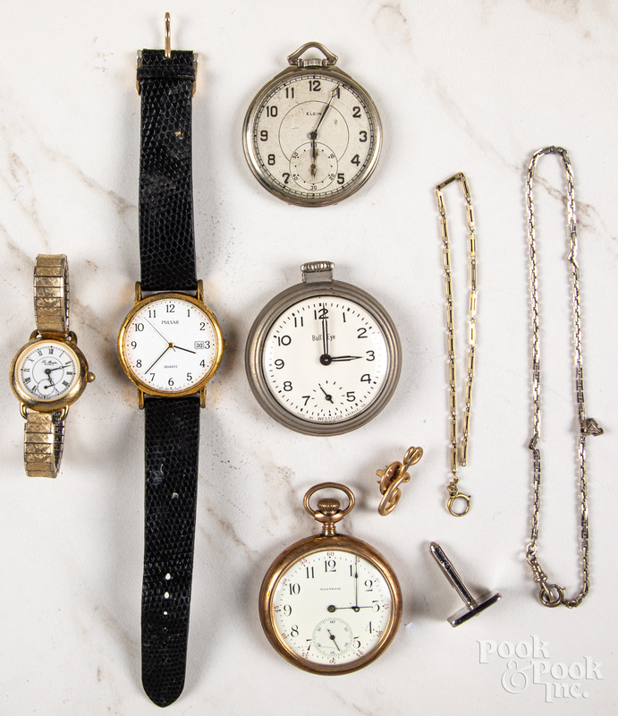 Two gold filled open-face pocket watches, etc.